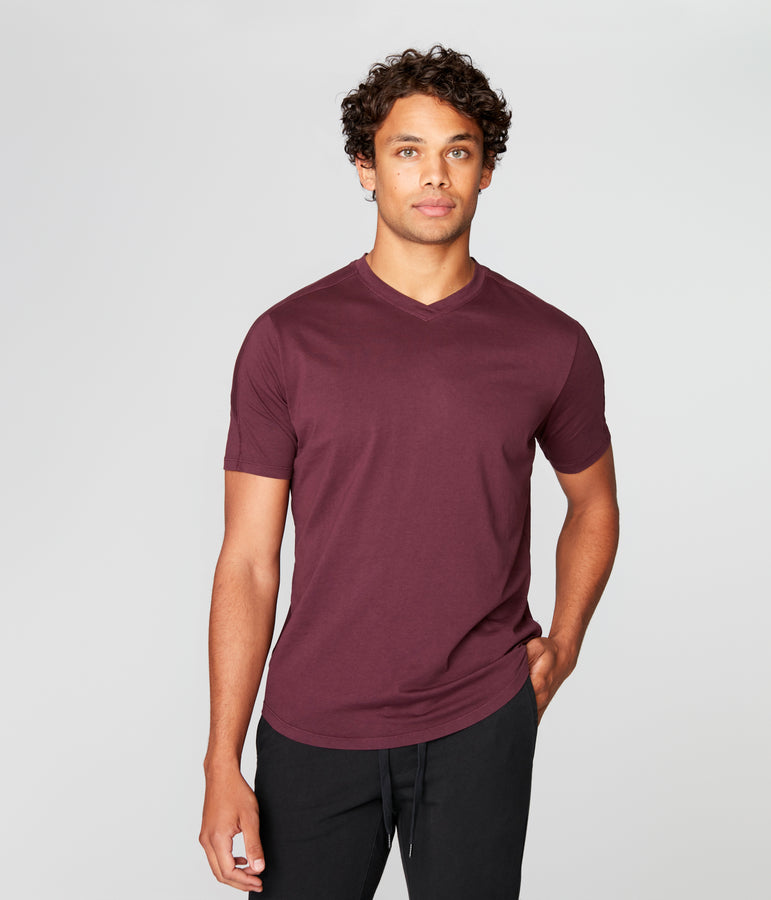 Hi Vee Tee in Premium Jersey - Wine - Good Man Brand