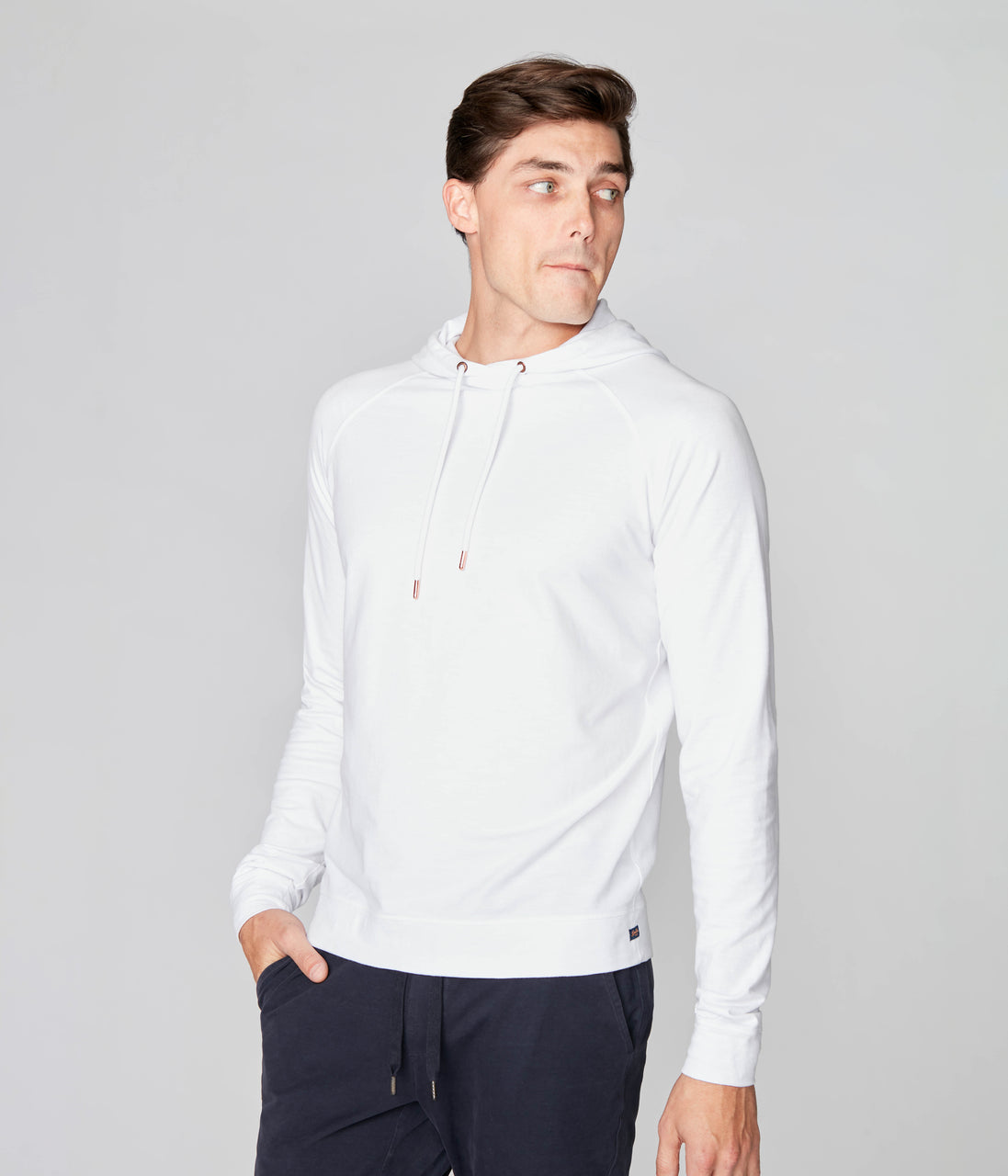 Legend Hoodie in Soft Slub Jersey - White - Good Man Brand - Legend Hoodie in Soft Slub Jersey - White