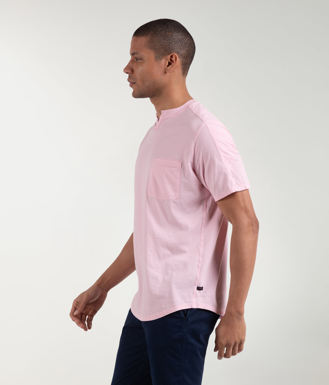 Premium Cotton Jersey Notch Neck Crew - Rose - Good Man Brand - Premium Cotton Jersey Notch Neck Crew - Rose