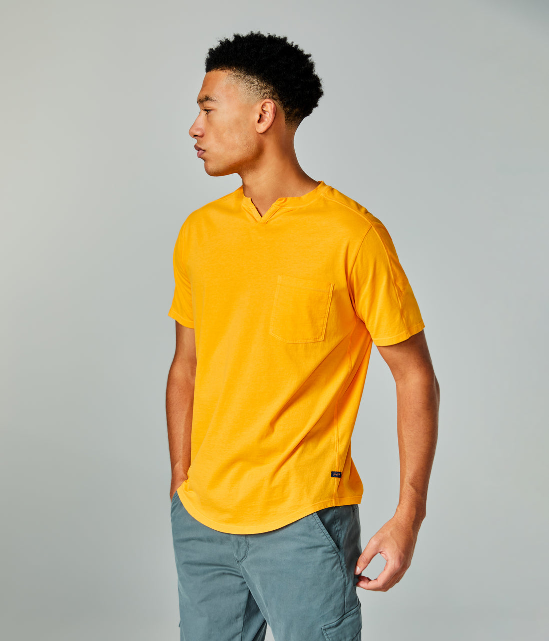 Premium Cotton Jersey Notch Neck Crew - Blazing Orange - Good Man Brand - Premium Cotton Jersey Notch Neck Crew - Blazing Orange