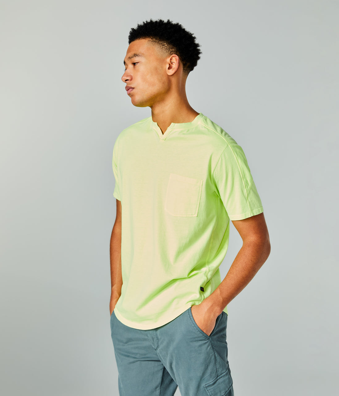 Premium Cotton Jersey Notch Neck Crew - Citron - Good Man Brand - Premium Cotton Jersey Notch Neck Crew - Citron