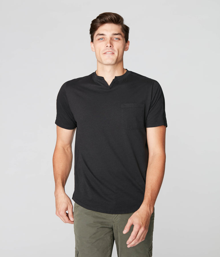 Victory V-Notch in Premium Cotton Jersey - Black - Good Man Brand