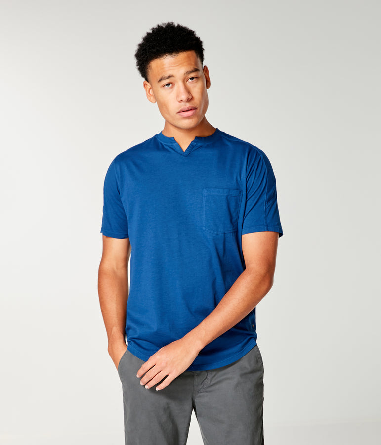 Victory V-Notch in Premium Jersey - Blue - Good Man Brand