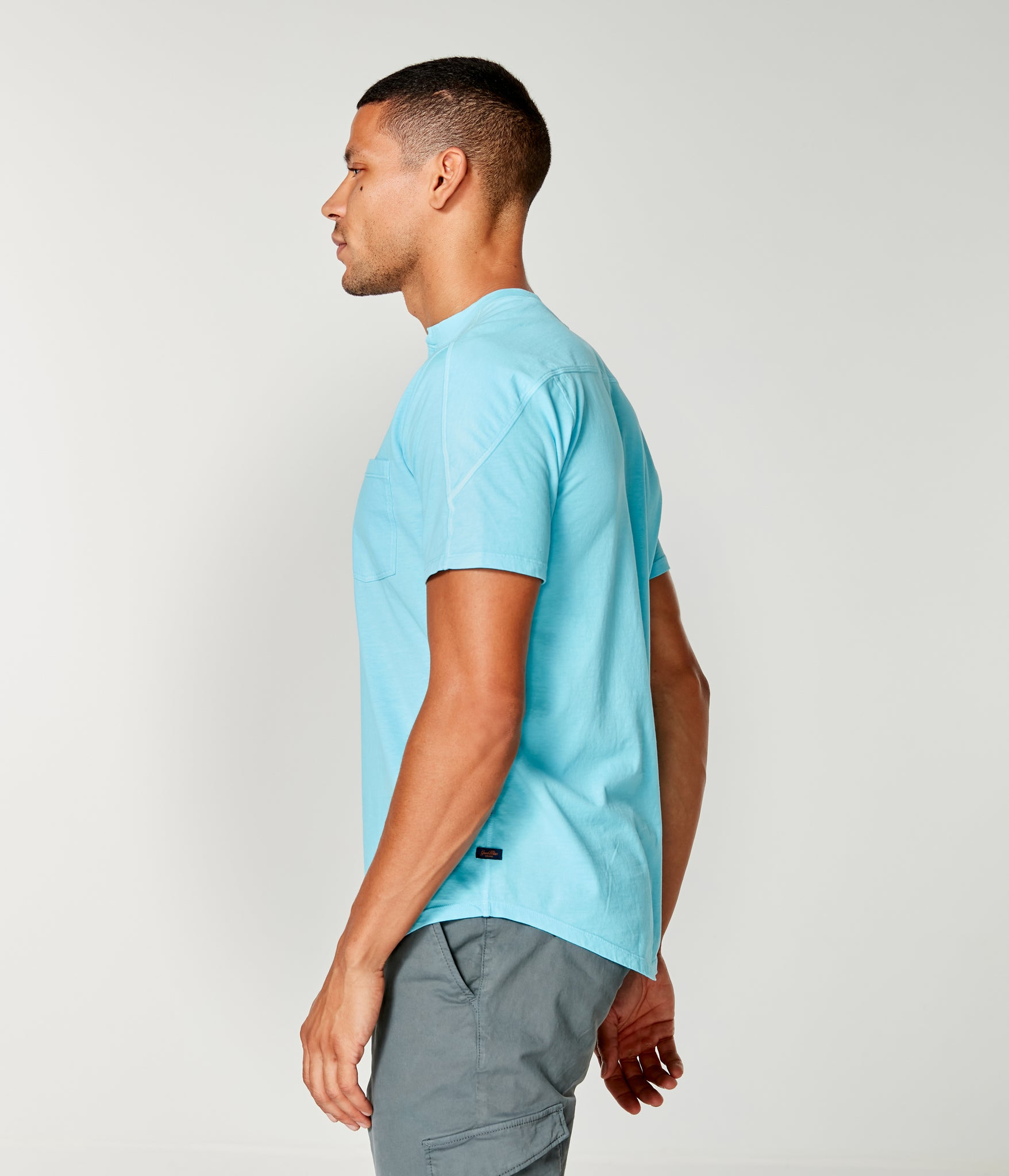 Premium Cotton Jersey Notch Neck Crew - Blue Topaz
