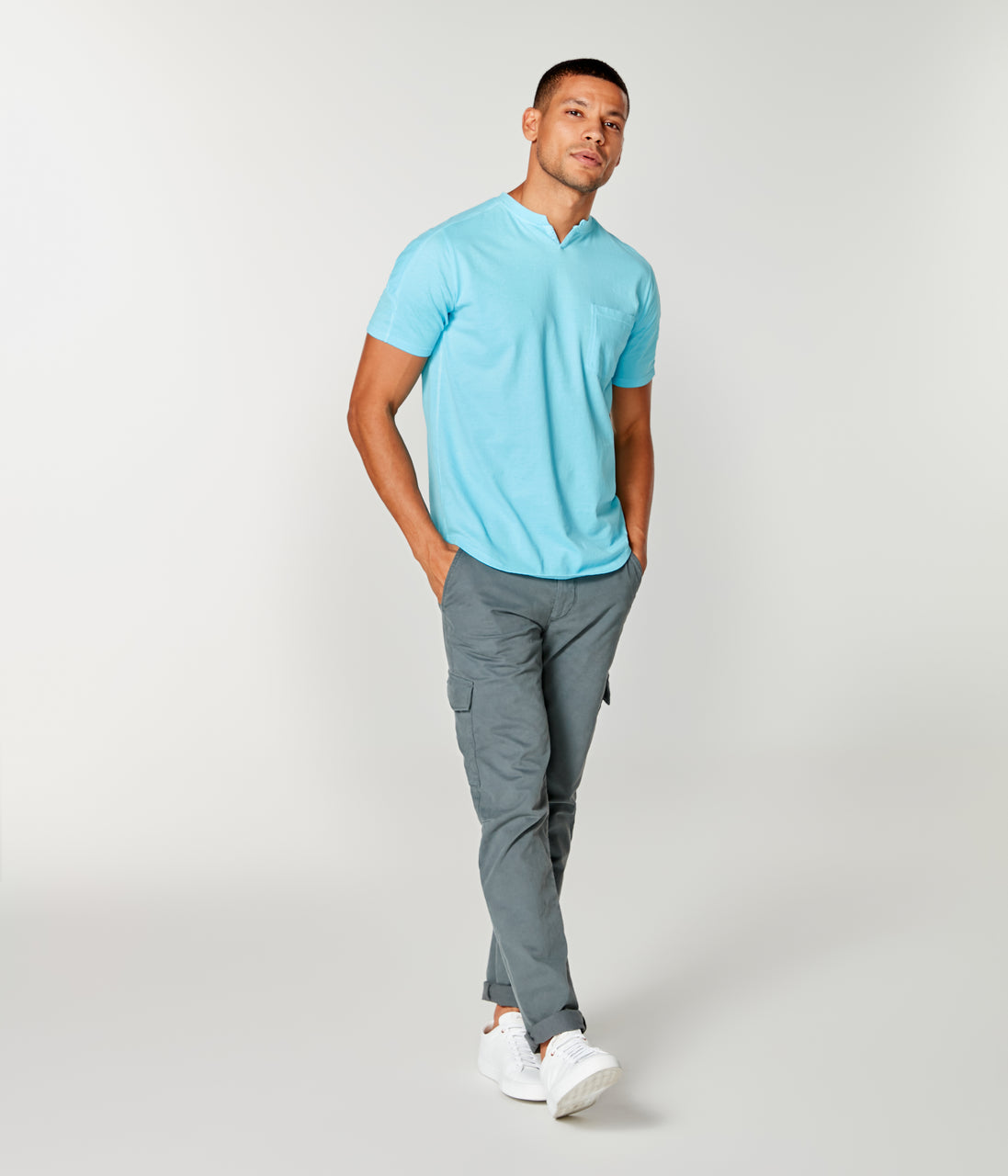 Premium Cotton Jersey Notch Neck Crew - Blue Topaz - Good Man Brand - Premium Cotton Jersey Notch Neck Crew - Blue Topaz