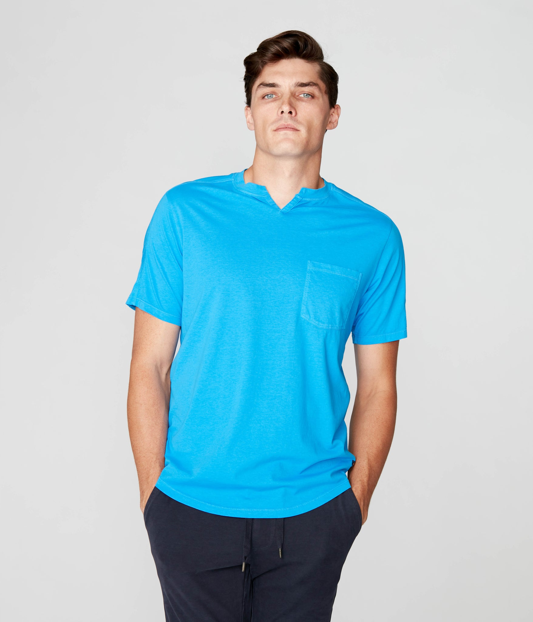 Victory V-Notch in Premium Cotton Jersey  - French Blue