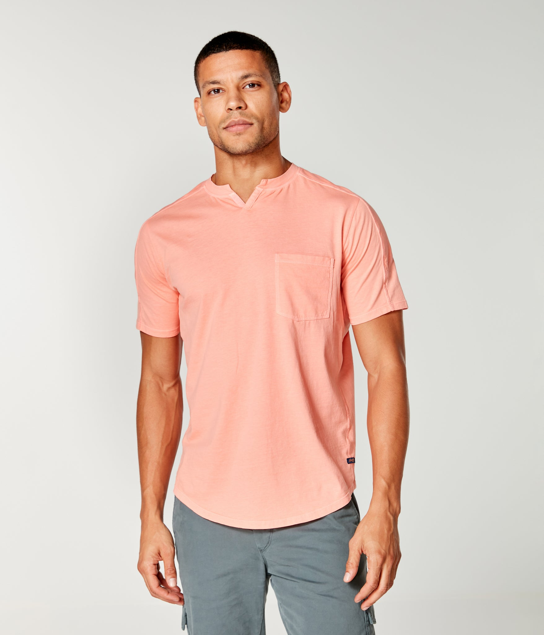 Premium Cotton Jersey Notch Neck Crew - Hibiscus