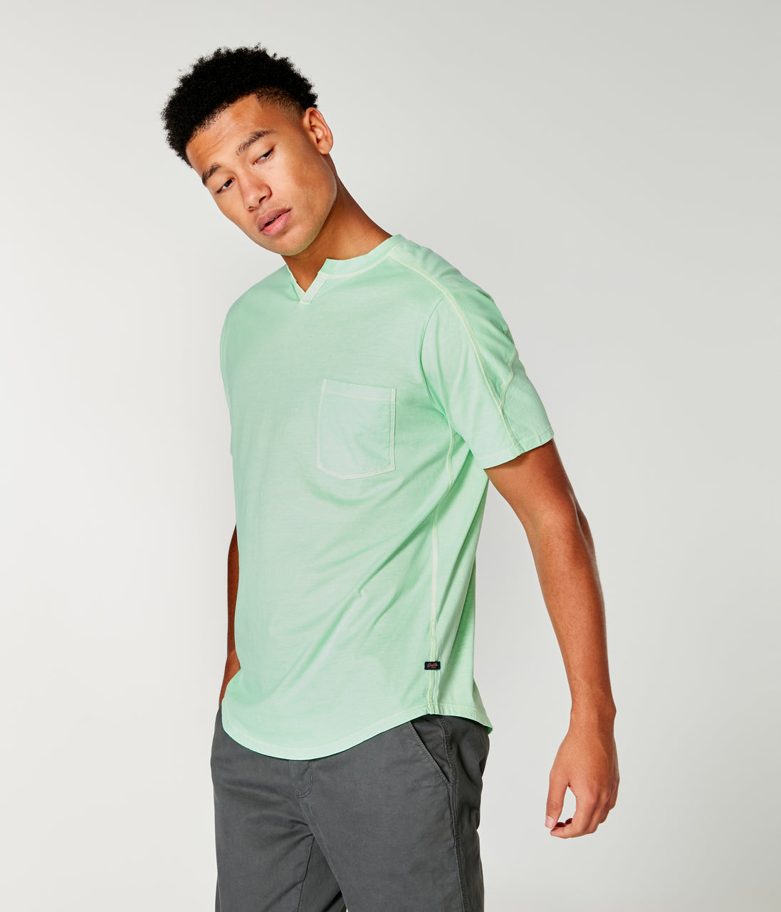 Premium Cotton Jersey Notch Neck Crew - Midori - Good Man Brand - Premium Cotton Jersey Notch Neck Crew - Midori