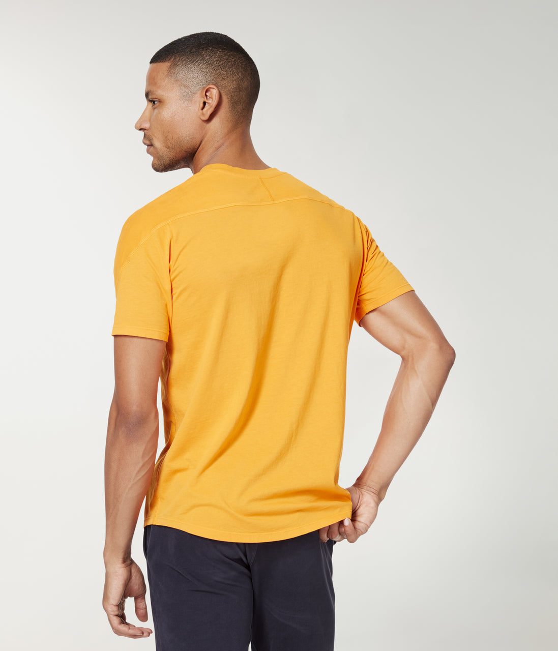 Premium Cotton Jersey Notch Neck Crew - Neon Orange - Good Man Brand - Premium Cotton Jersey Notch Neck Crew - Neon Orange