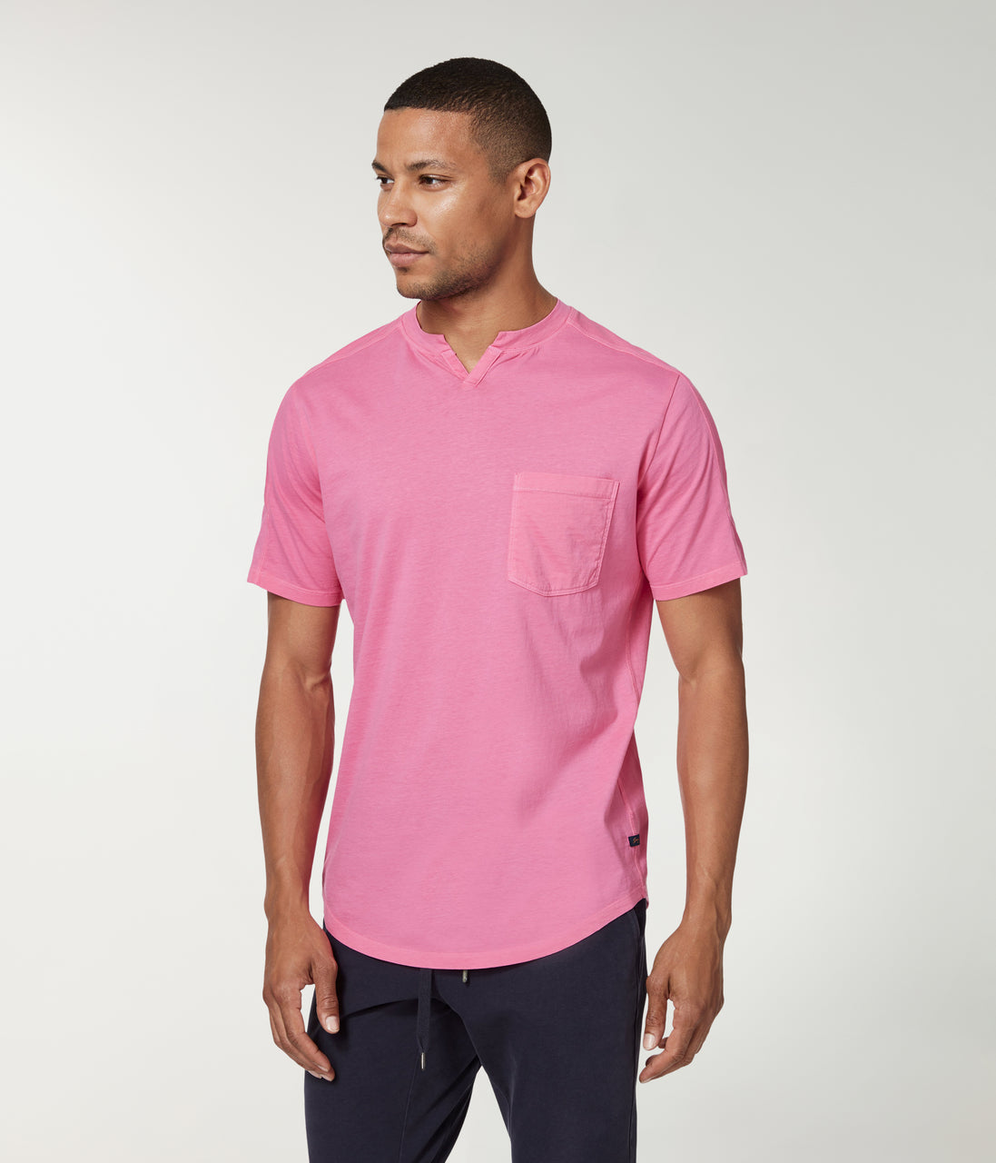 Premium Cotton Jersey Notch Neck Crew - Neon Pink - Good Man Brand - Premium Cotton Jersey Notch Neck Crew - Neon Pink