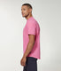 Premium Cotton Jersey Notch Neck Crew - Neon Pink