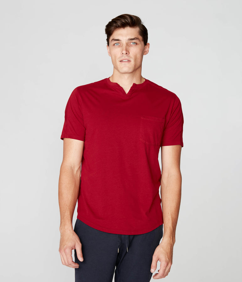 Victory V-Notch in Premium Cotton Jersey  - Red - Good Man Brand