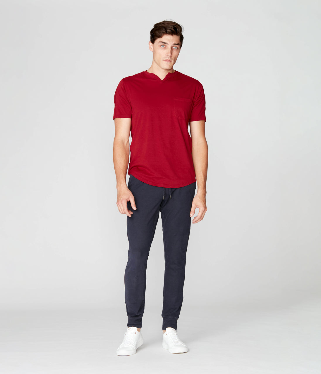 Victory V-Notch in Premium Cotton Jersey  - Red - Good Man Brand - Victory V-Notch in Premium Cotton Jersey  - Red