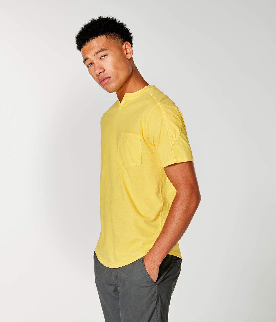 Premium Cotton Jersey Notch Neck Crew - Sun - Good Man Brand - Premium Cotton Jersey Notch Neck Crew - Sun