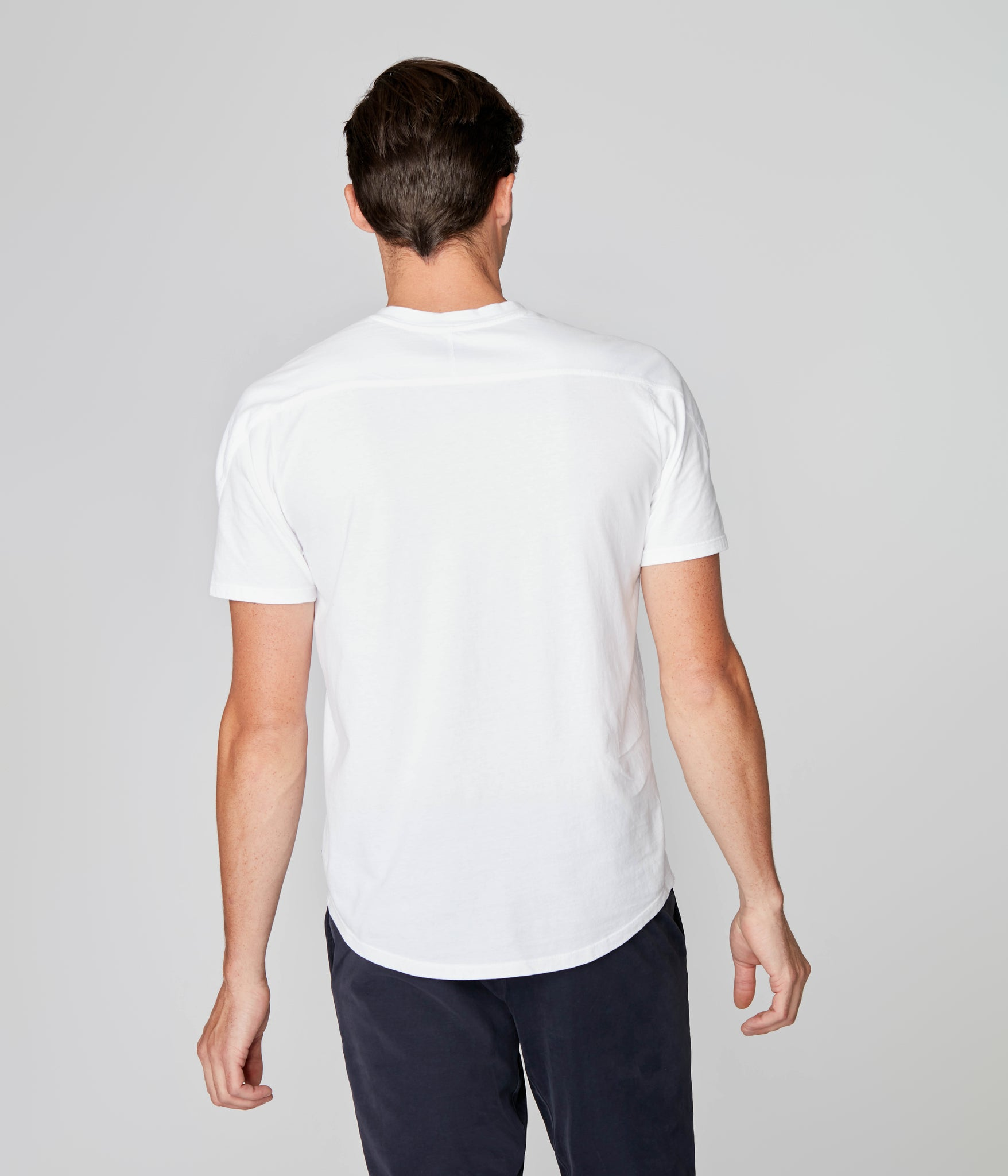 Premium Cotton Jersey Notch Neck Crew - White
