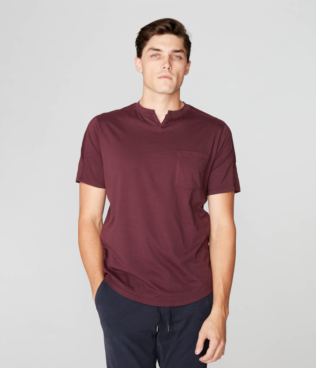 Premium Cotton Jersey Notch Neck Crew - Wine - Good Man Brand - Premium Cotton Jersey Notch Neck Crew - Wine