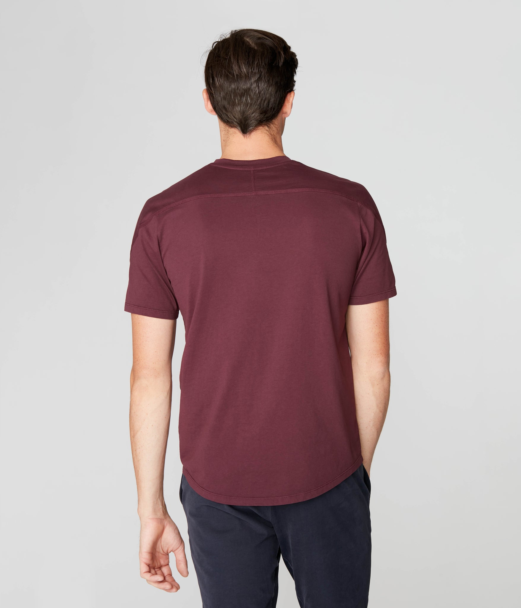 Premium Cotton Jersey Notch Neck Crew - Wine