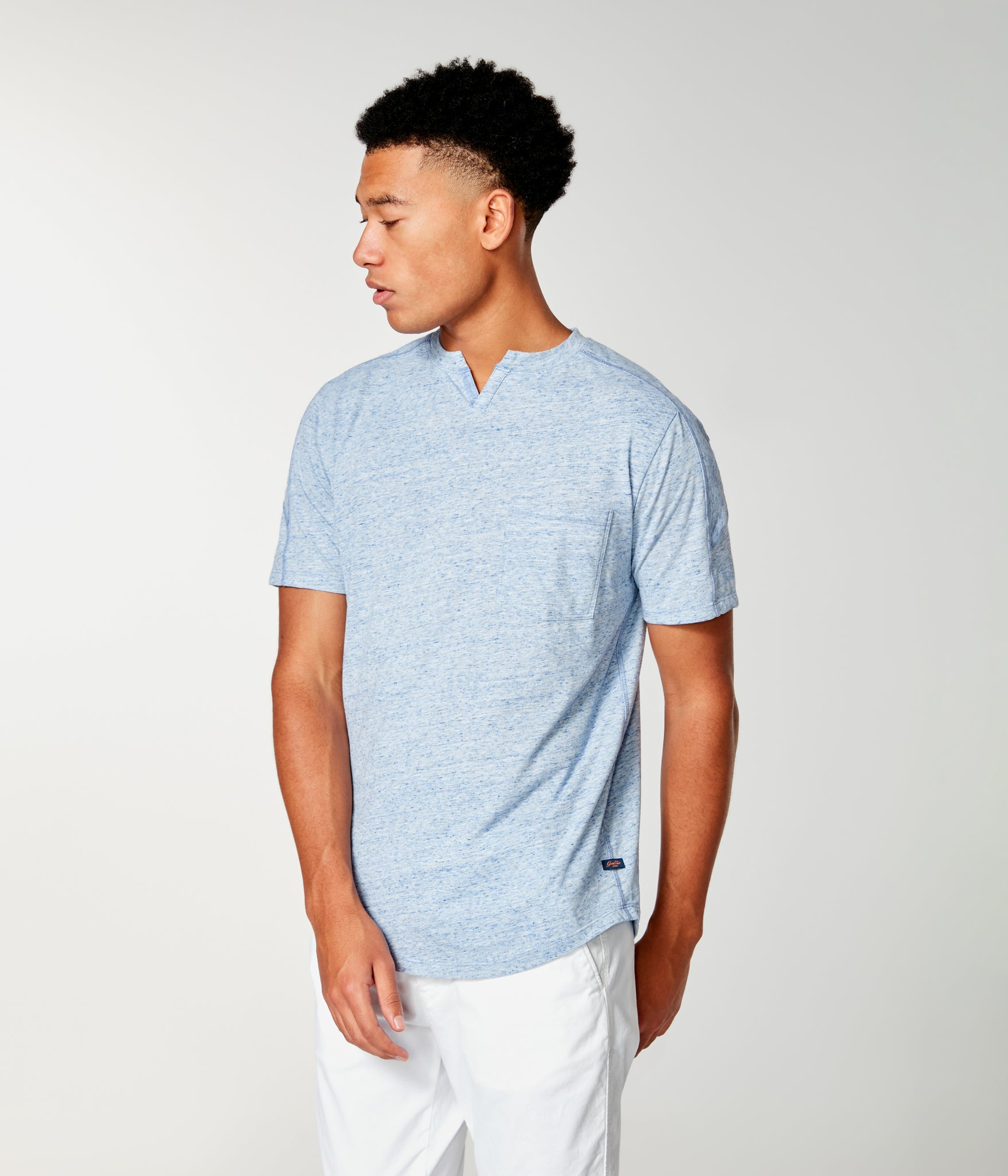 Ss Victory V-Notch Tee - Blue Heather