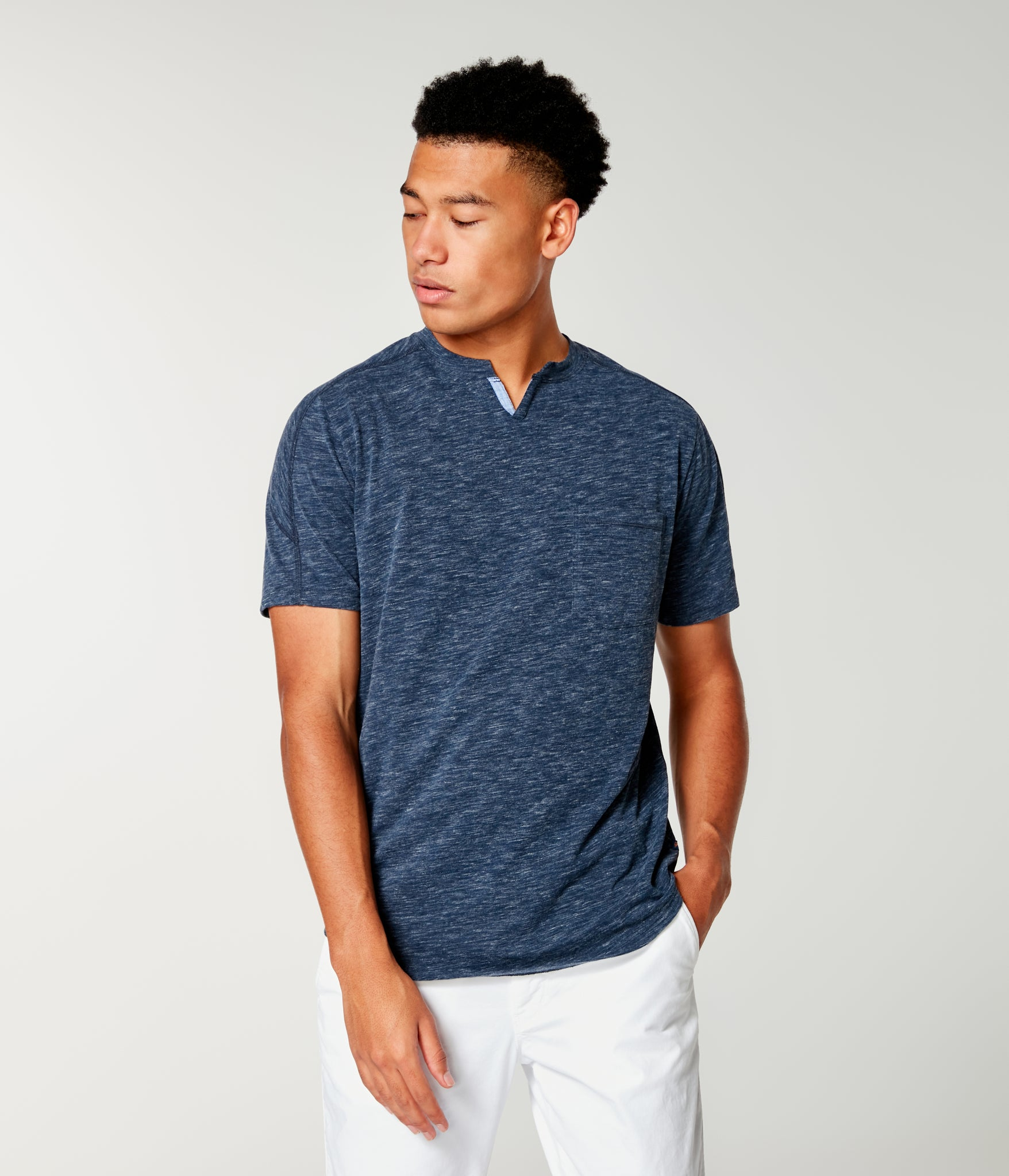 Ss Victory V-Notch Tee - Navy Heather