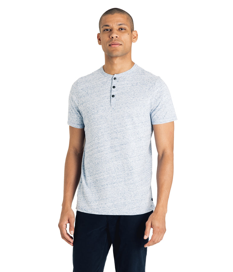 Heather Soft Jersey Henley  - Blue Heather - Good Man Brand