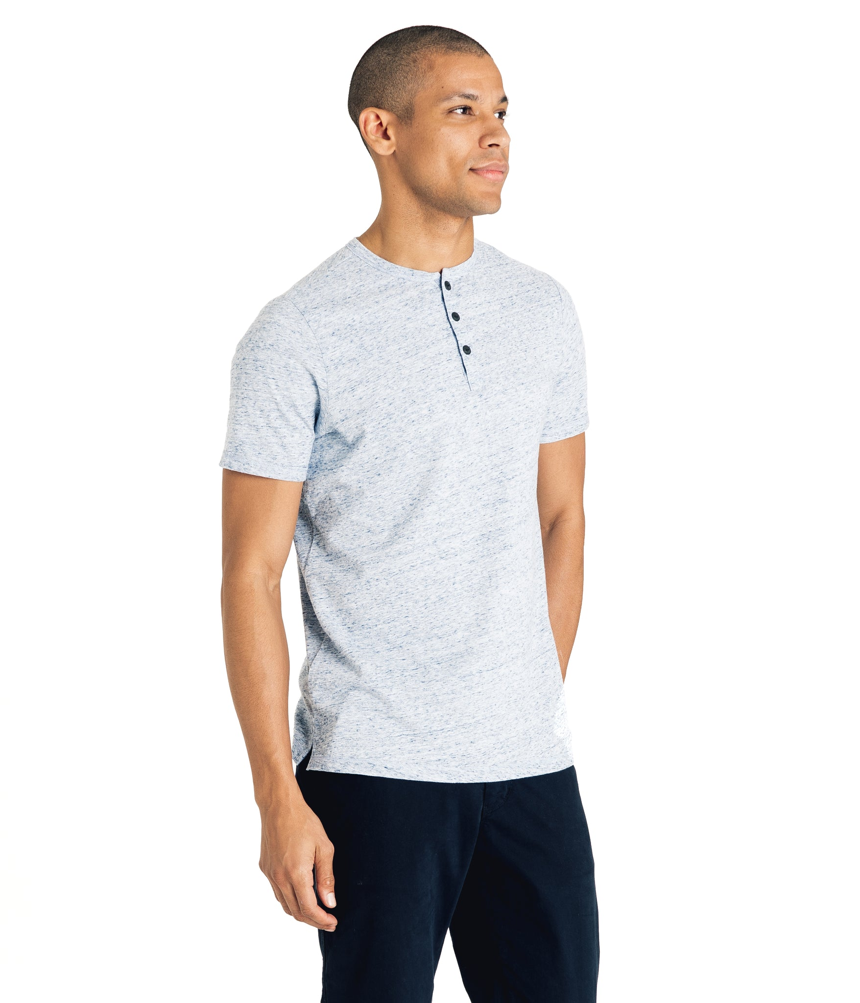 Henley - Soft Jersey - Blue Heather - Good Man Brand - Henley - Soft Jersey - Blue Heather