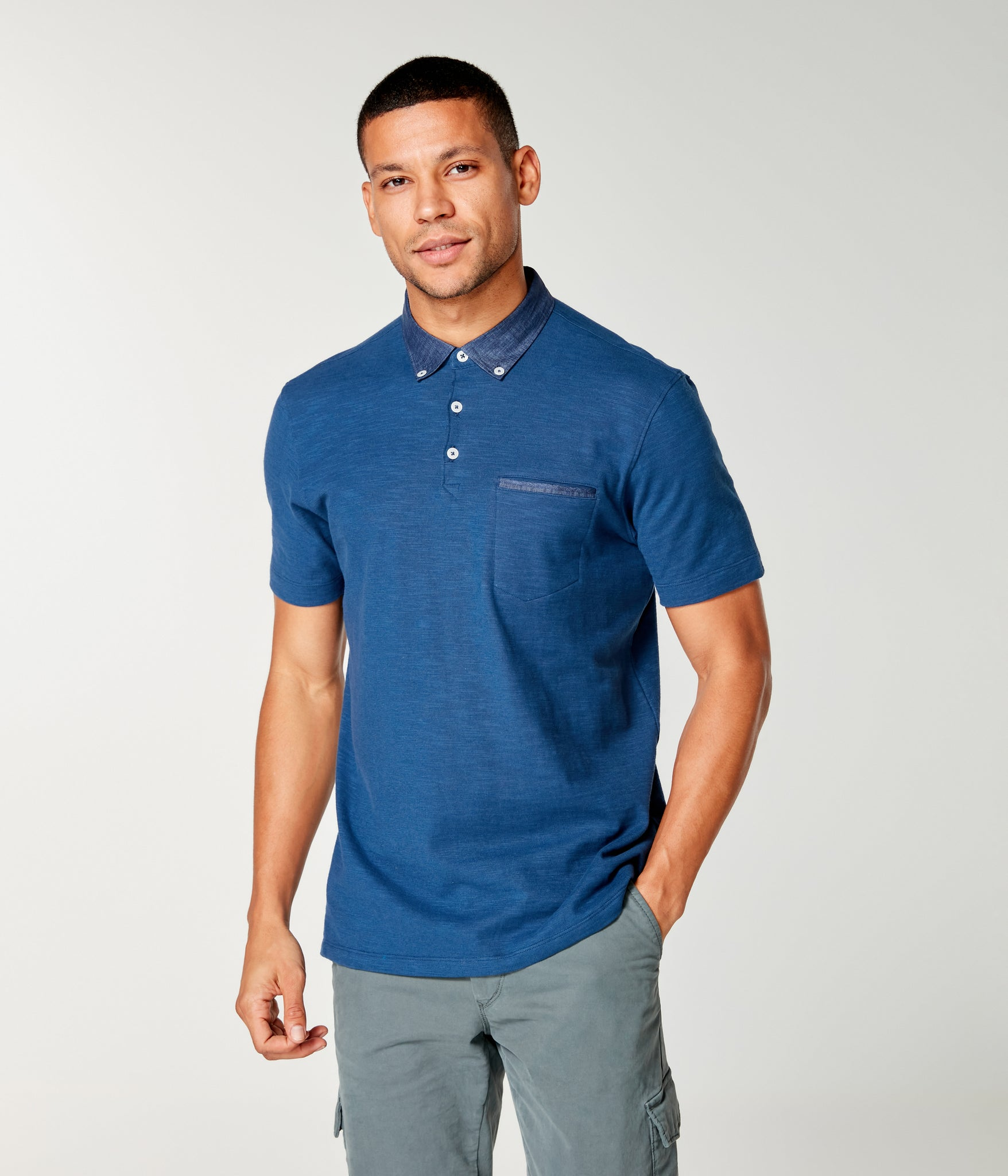 Soft Slub Jersey Polo - Blue Magic