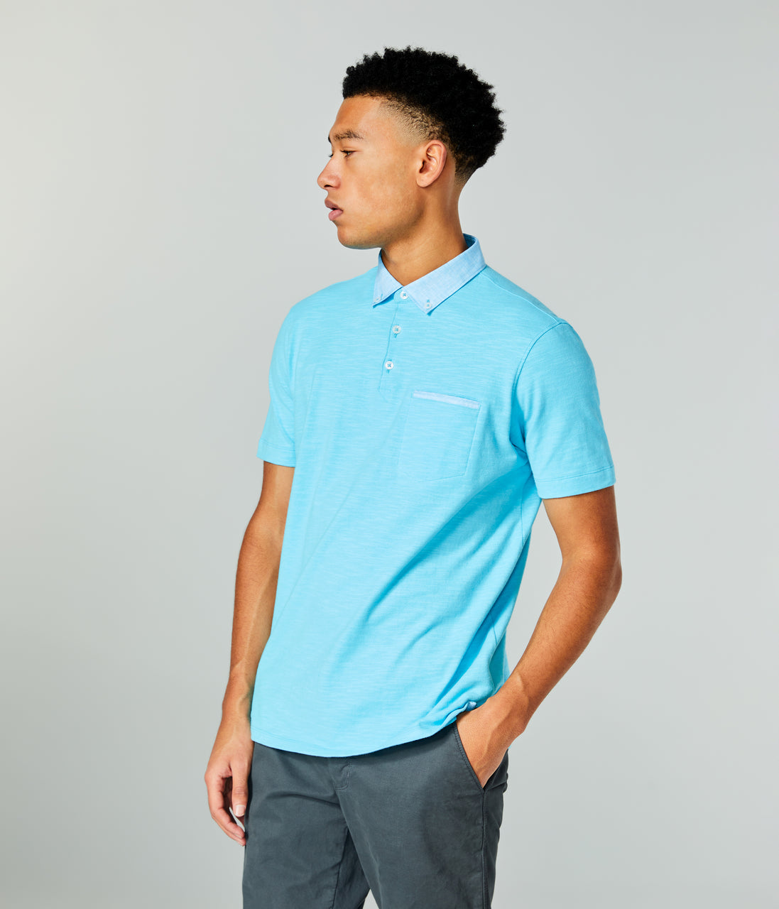Soft Slub Jersey Polo - Blue Topaz - Good Man Brand - Soft Slub Jersey Polo - Blue Topaz