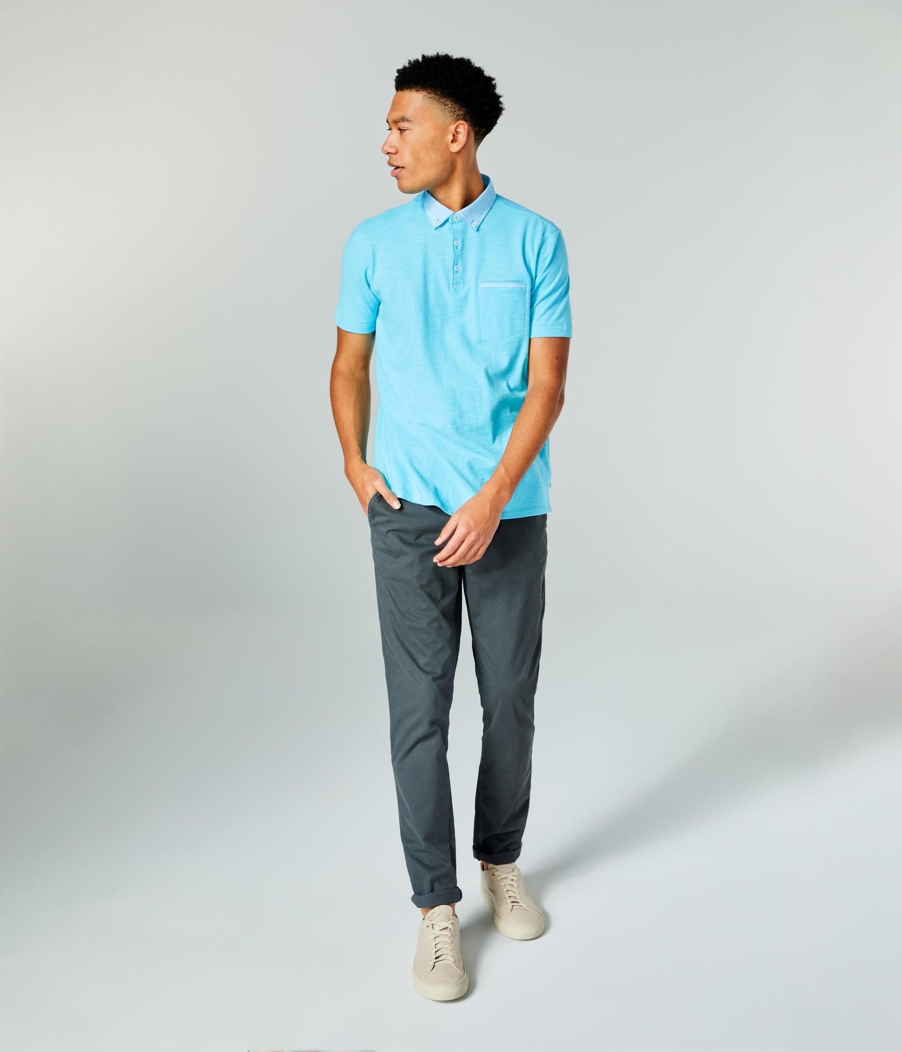 Soft Slub Jersey Polo - Blue Topaz