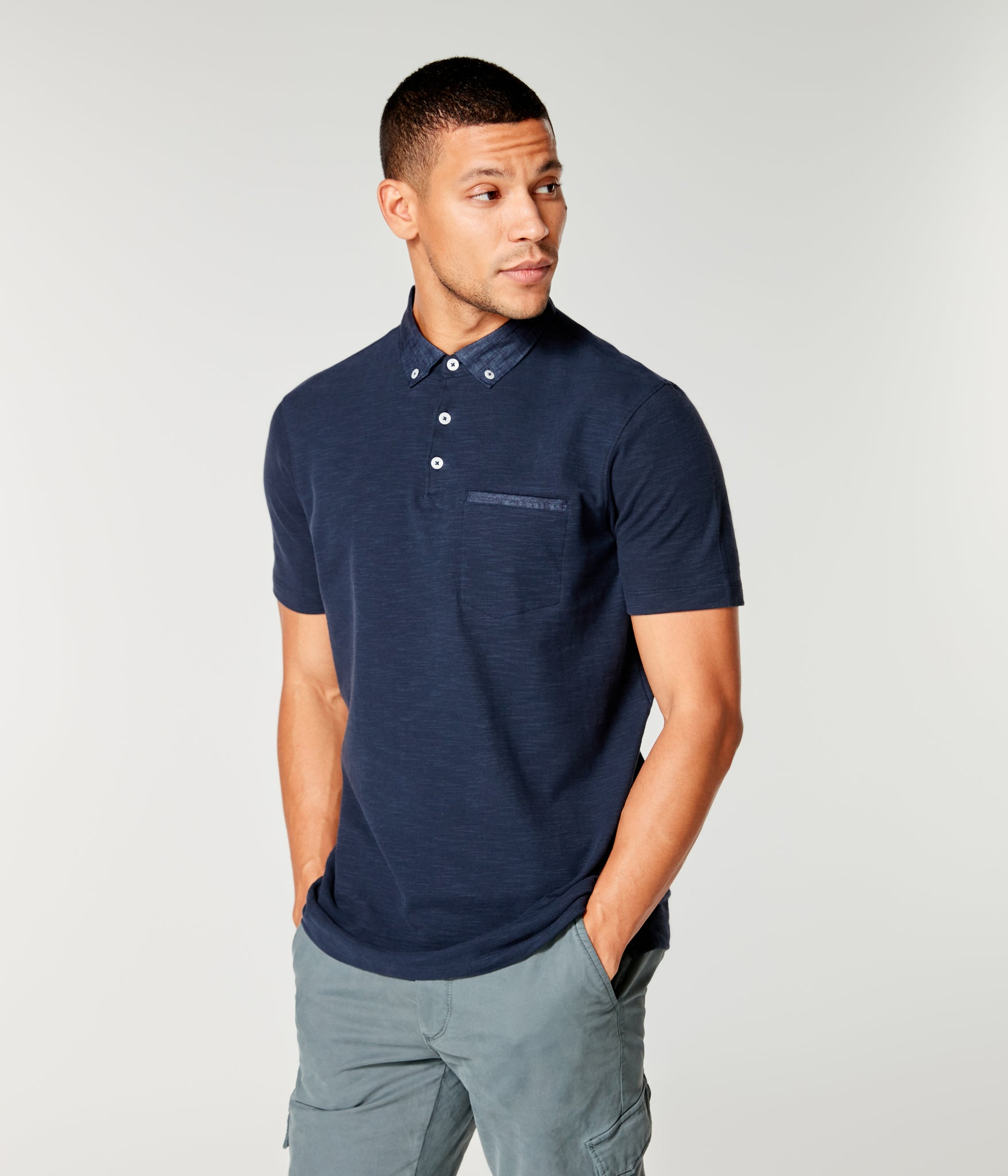 Soft Slub Jersey Polo - Sky Captain