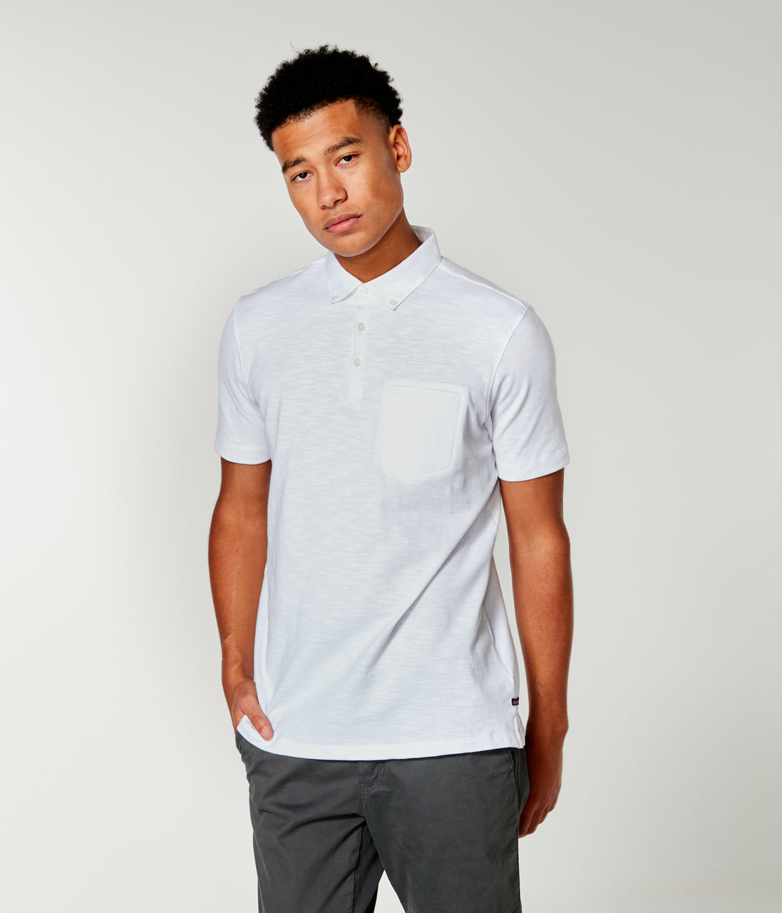 Soft Slub Jersey Polo - White - Good Man Brand - Soft Slub Jersey Polo - White