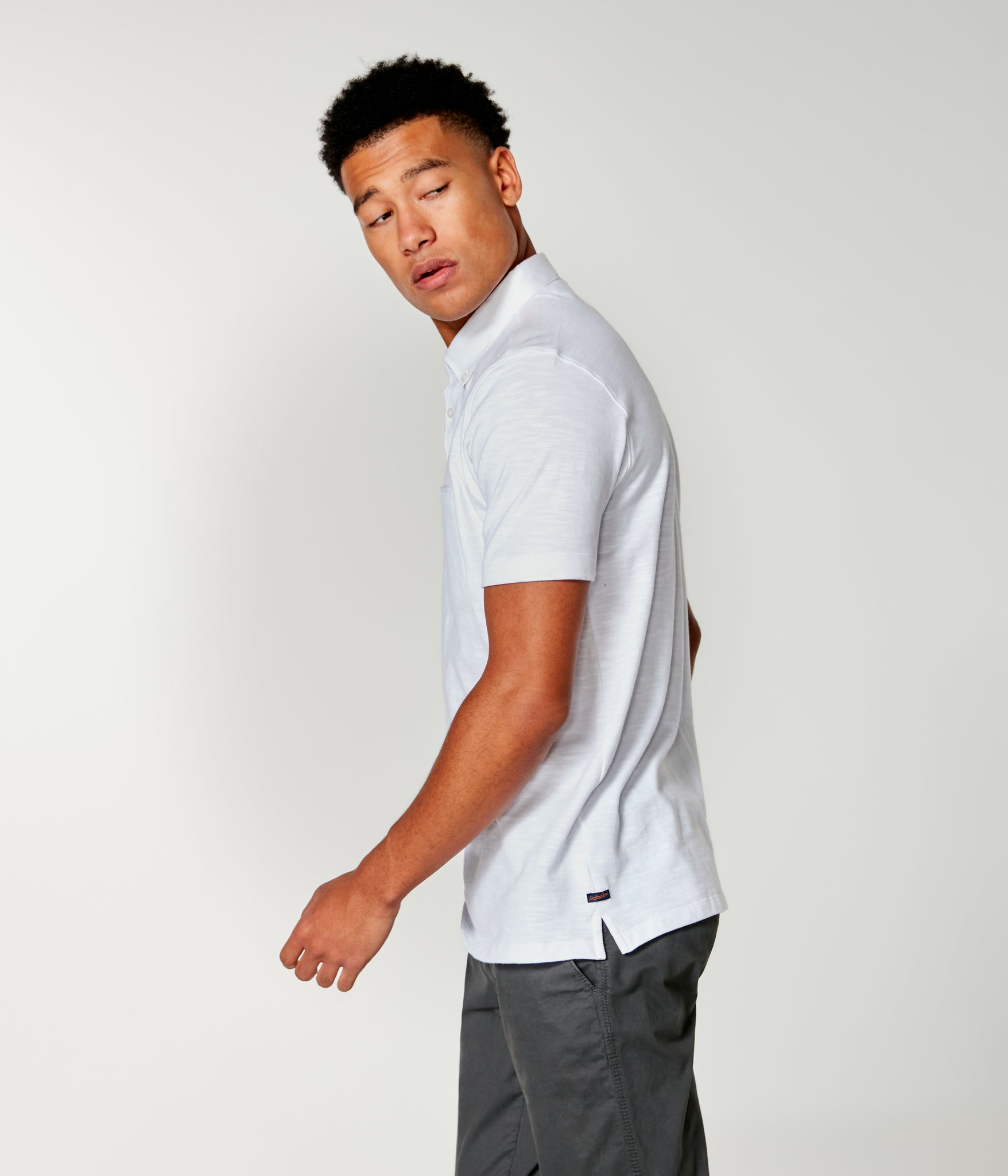 Soft Slub Jersey Polo - White
