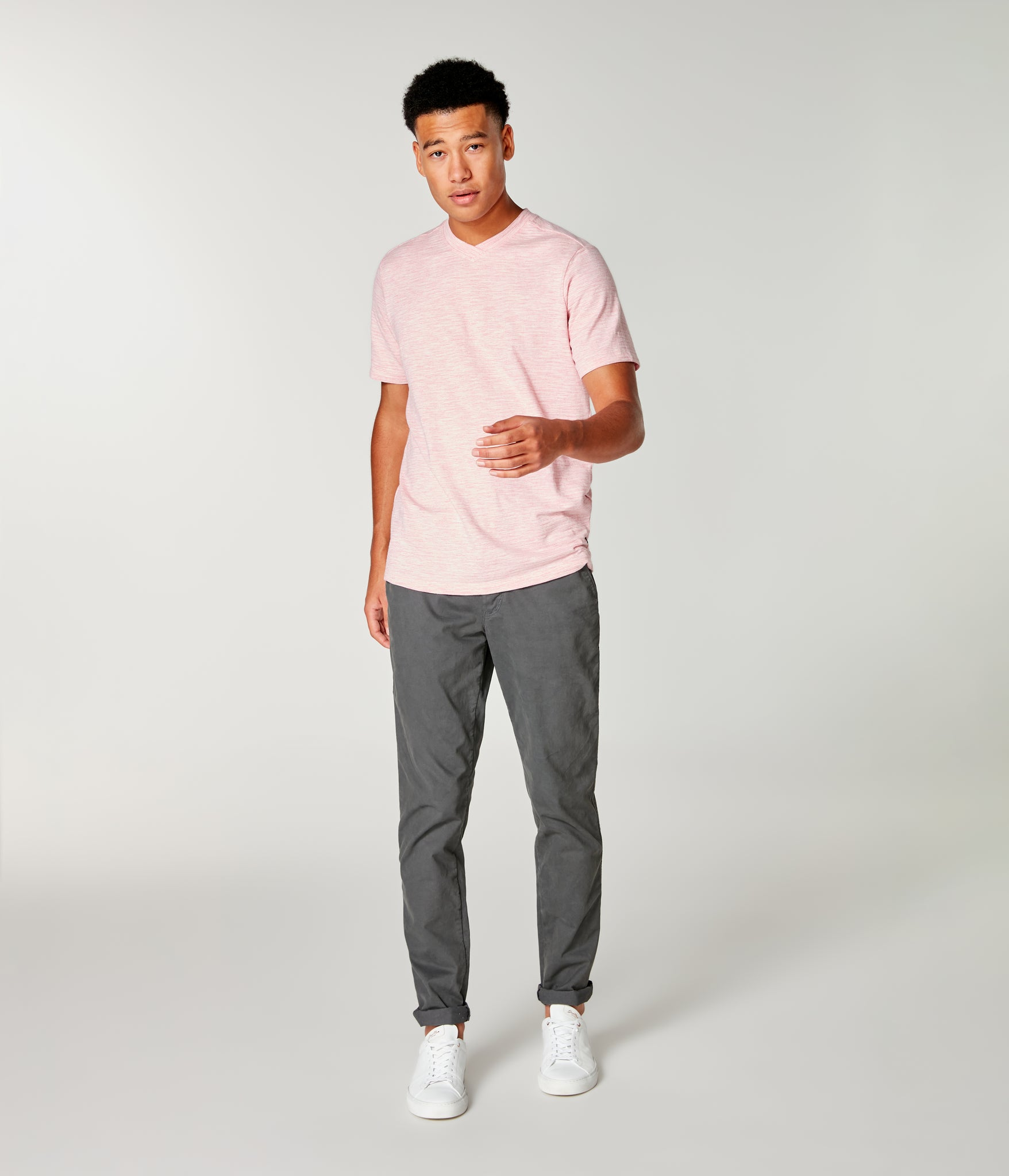 Akasaka Stripe Hi Vee Tee - Pink Heather