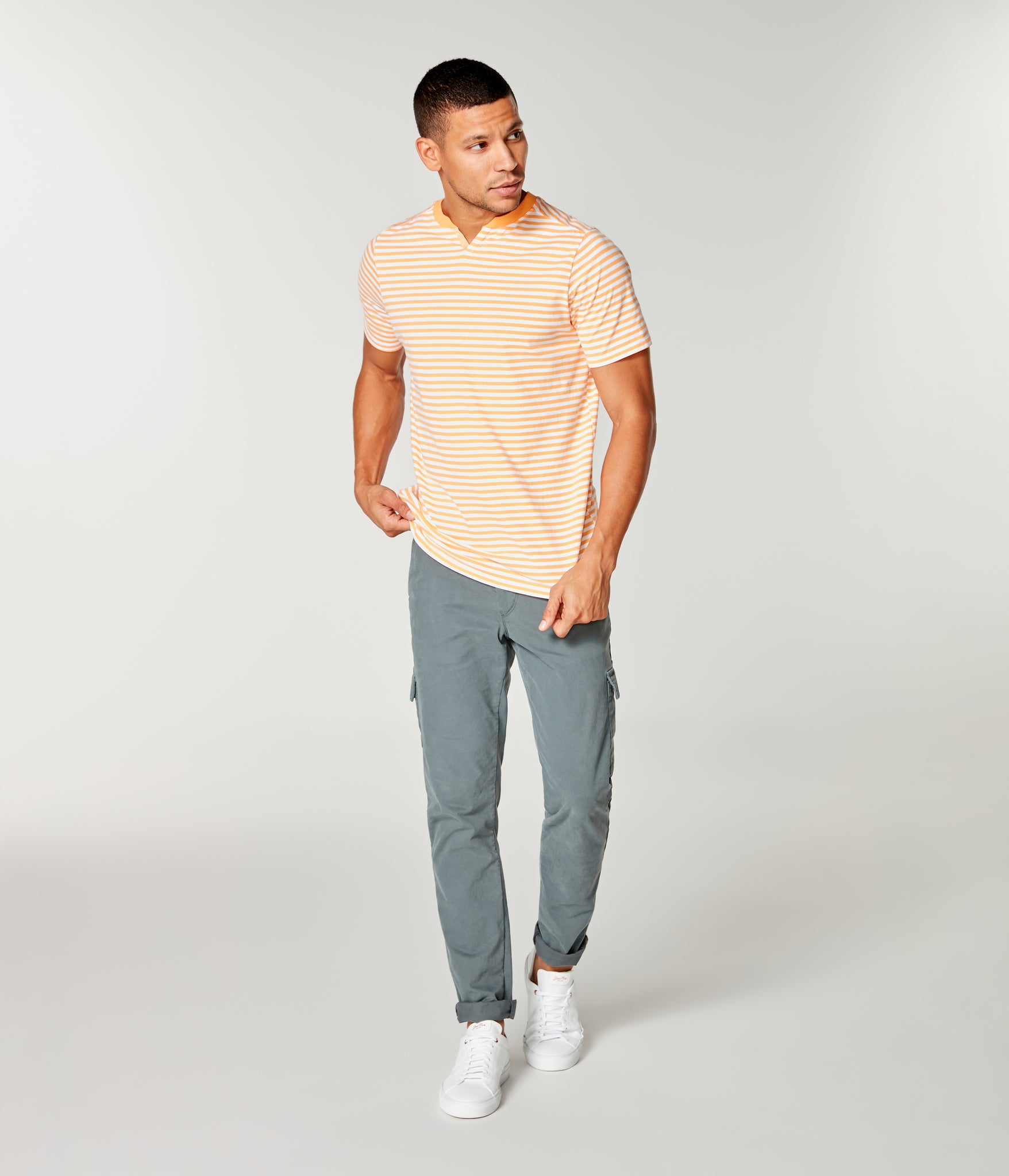 Stripe Jersey Razor Notch Neck Crew - Blazing Orange