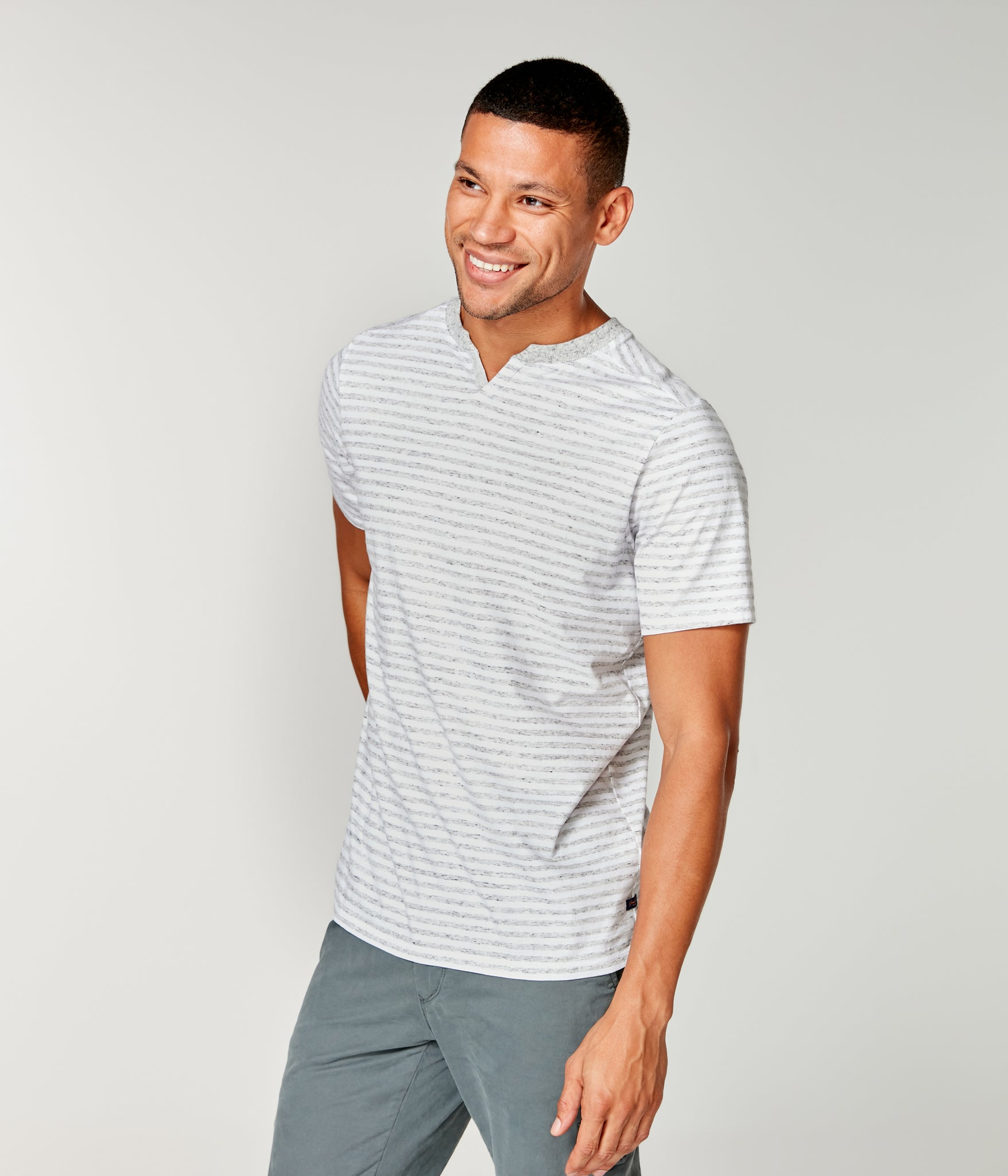 Stripe Jersey Razor Notch Neck Crew - Silver Heather