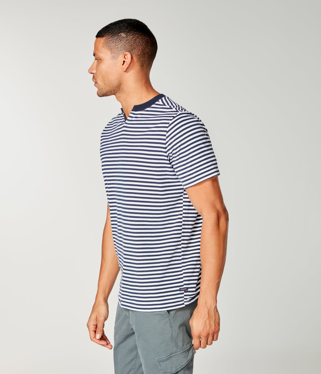 Stripe Jersey Razor Notch Neck Crew - Sky Captain - Good Man Brand - Stripe Jersey Razor Notch Neck Crew - Sky Captain