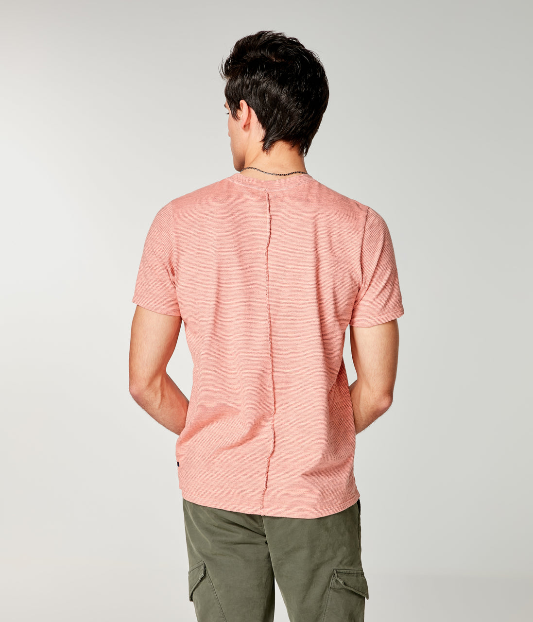 Shinjuku Razor Notch Neck Crew - Hibiscus - Good Man Brand - Shinjuku Razor Notch Neck Crew - Hibiscus