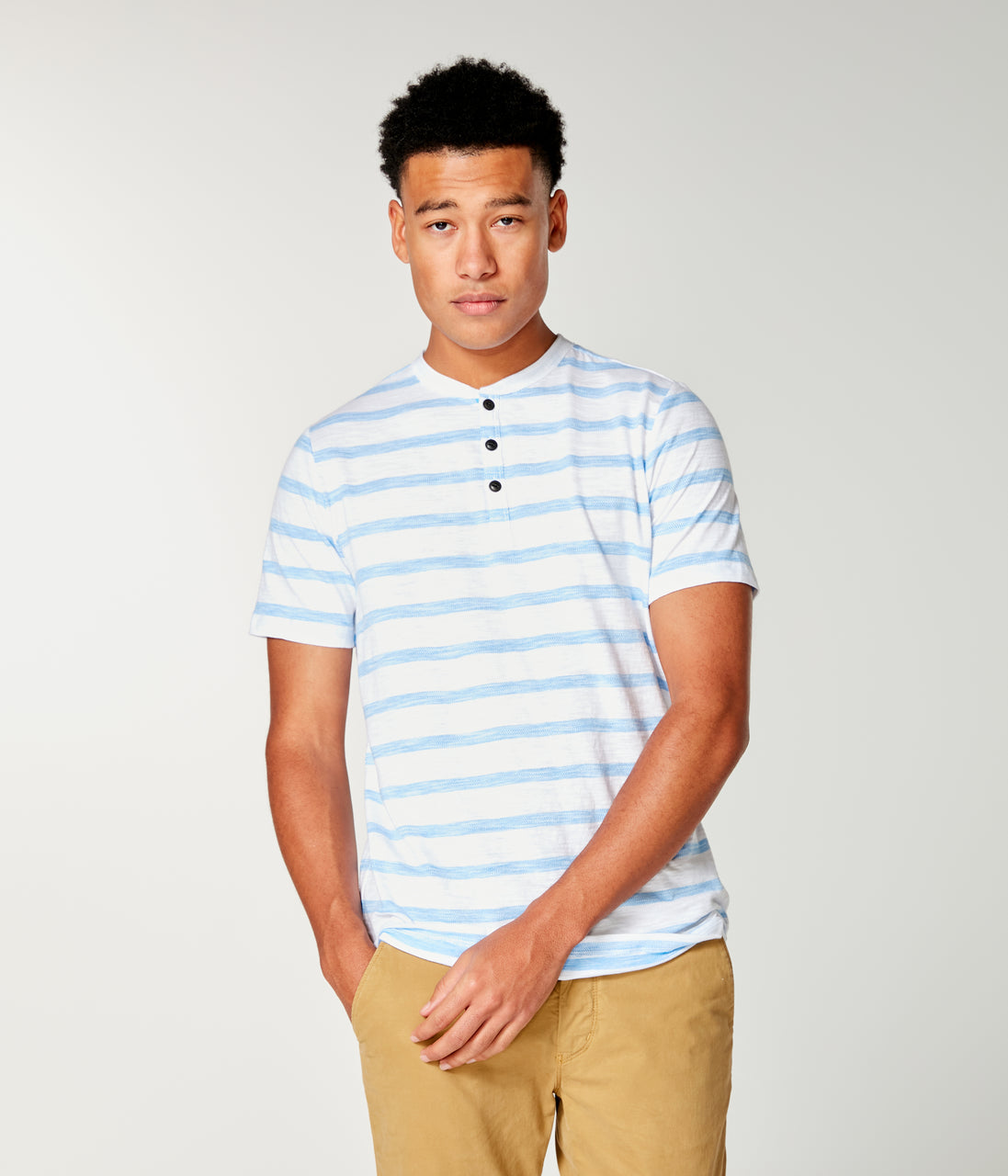 Shibuya Stripe Razor Henley - French Blue - Good Man Brand - Shibuya Stripe Razor Henley - French Blue