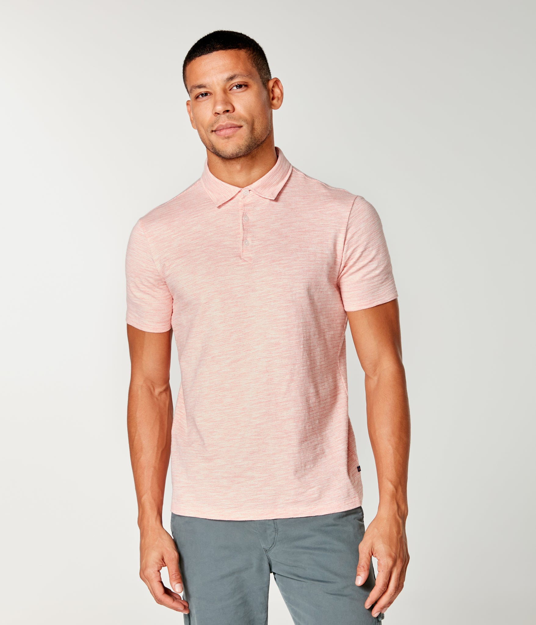 Akasaka Stripe Polo - Hibiscus Heather
