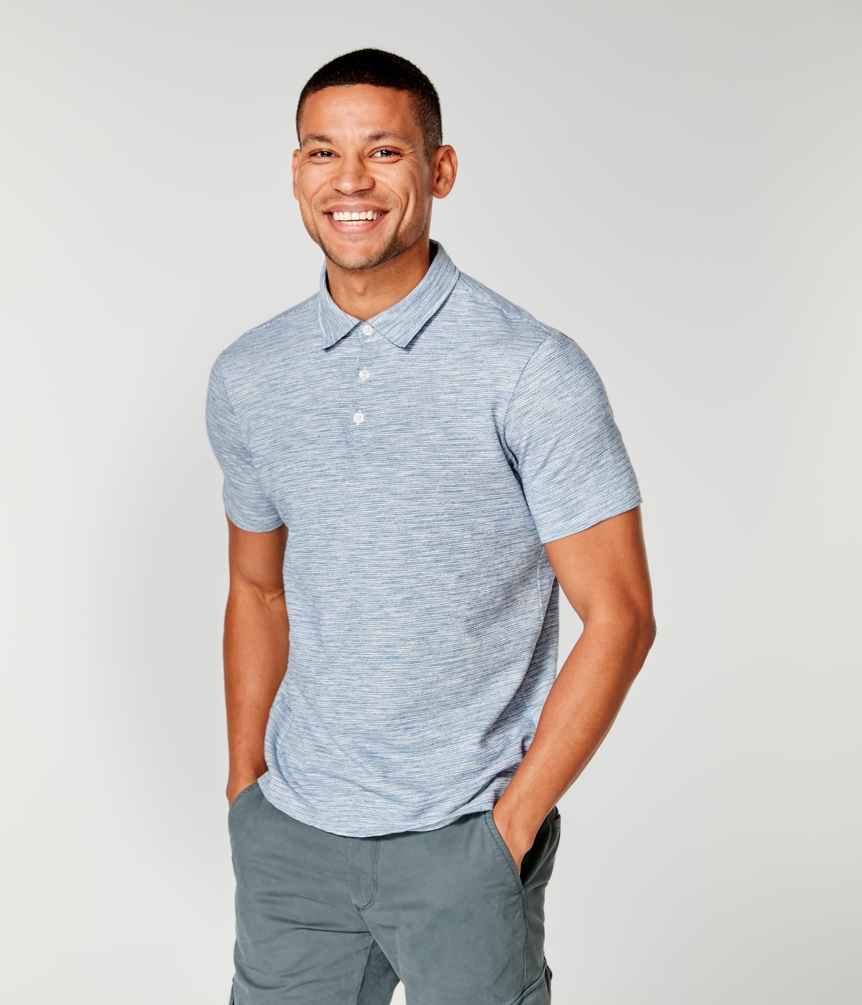 Akasaka Stripe Polo - Ocean Heather