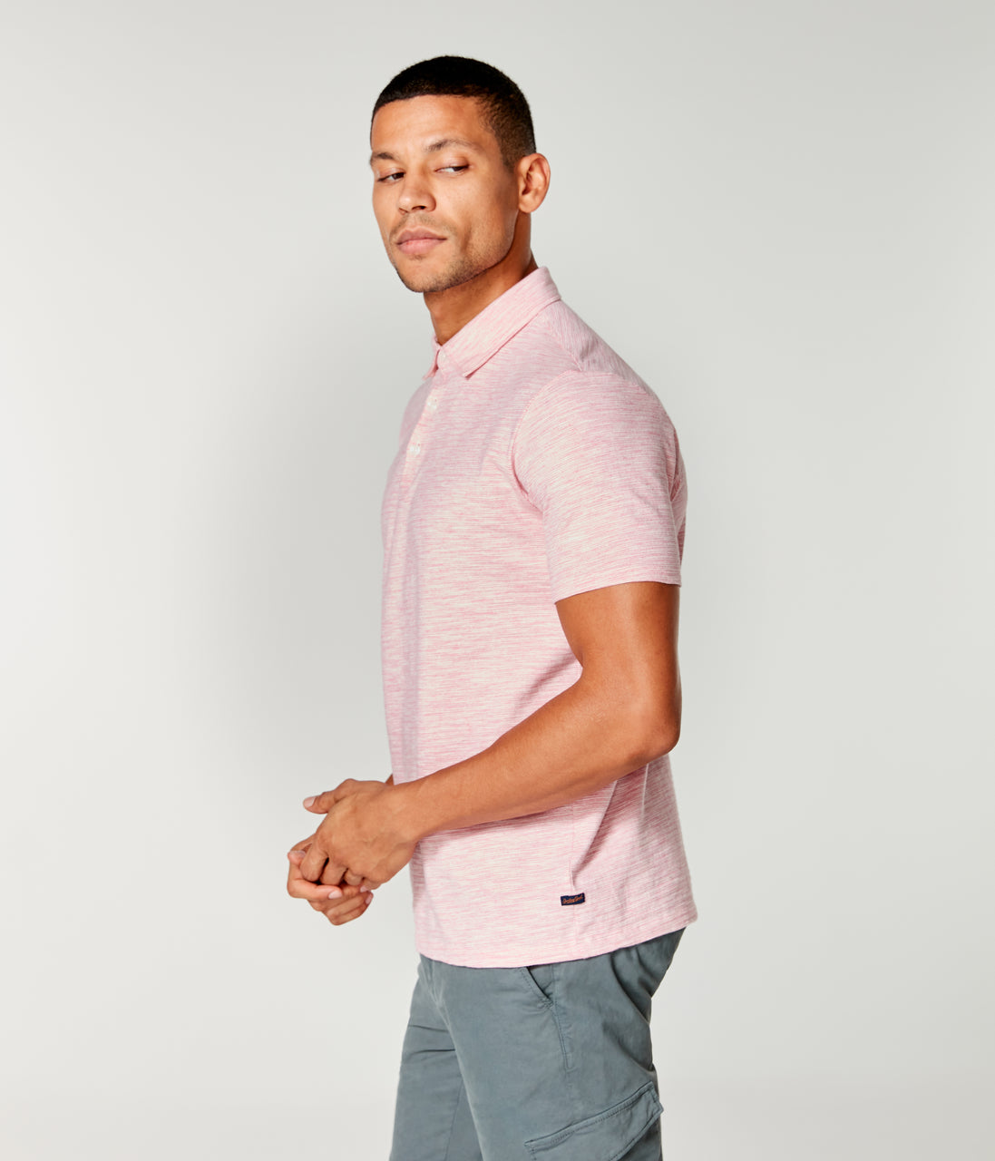 Akasaka Stripe Polo - Pink Heather - Good Man Brand - Akasaka Stripe Polo - Pink Heather