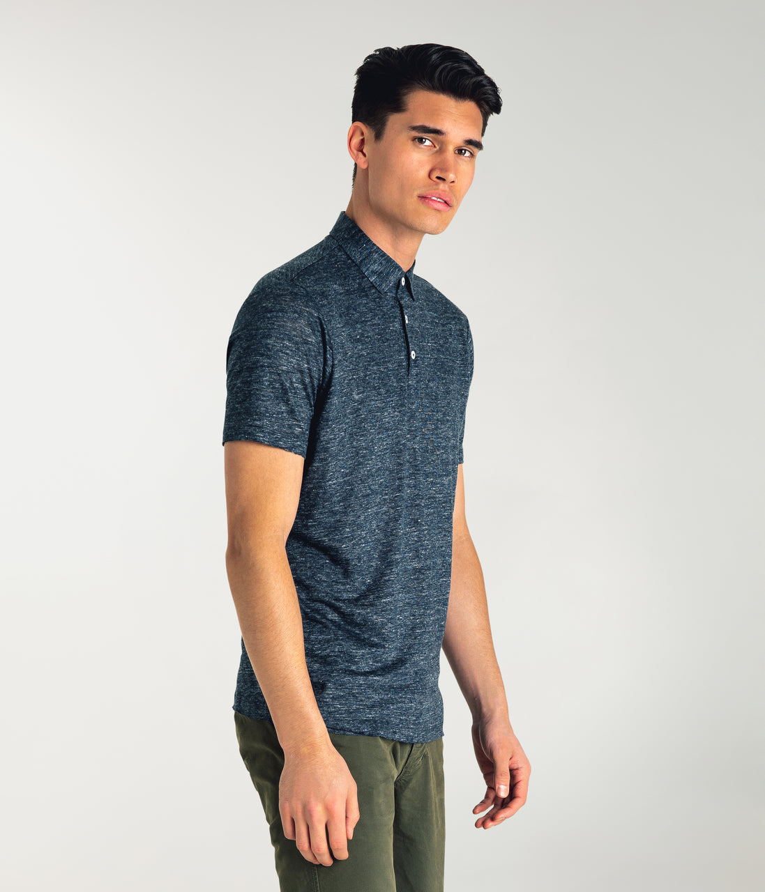 Linen Heather Polo - Navy Heather - Good Man Brand - Linen Heather Polo - Navy Heather
