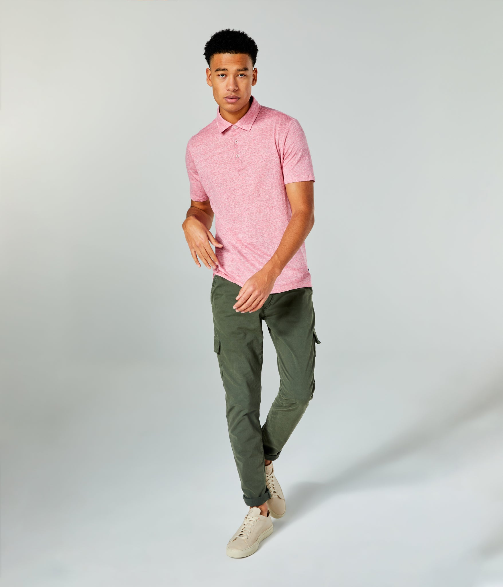 Linen Heather Polo - Hibiscus Heather