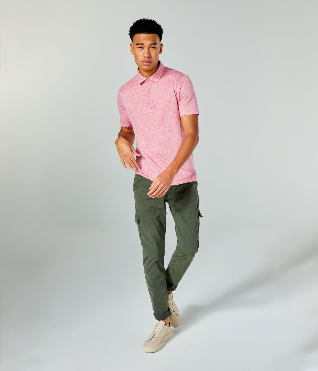 Linen Heather Polo - Hibiscus Heather - Good Man Brand - Linen Heather Polo - Hibiscus Heather