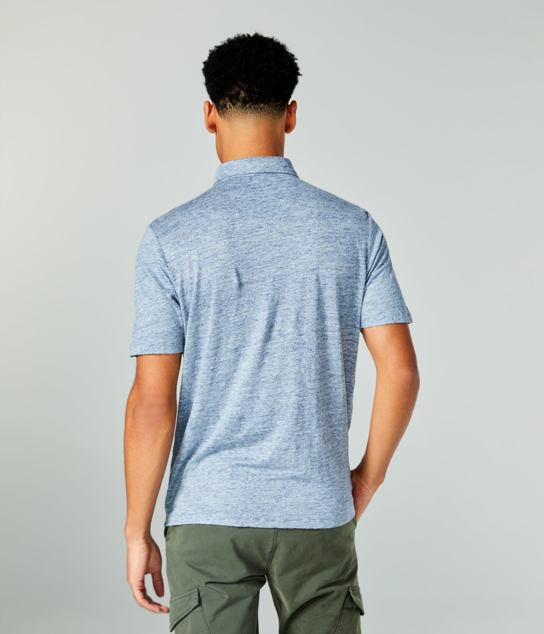 Linen Heather Polo - Indigo Heather