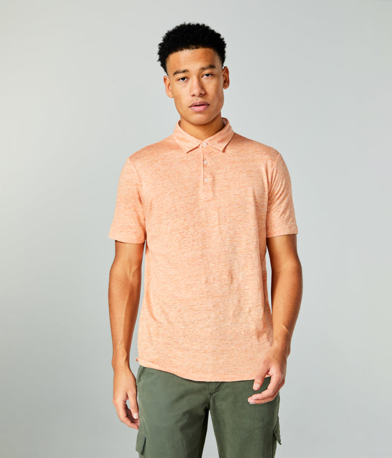 Linen Heather Polo - Blazing Orange - Good Man Brand