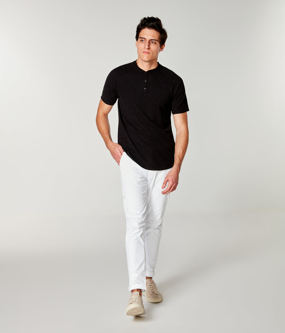 Soft Slub Jersey Legend Henley - Black - Good Man Brand - Soft Slub Jersey Legend Henley - Black