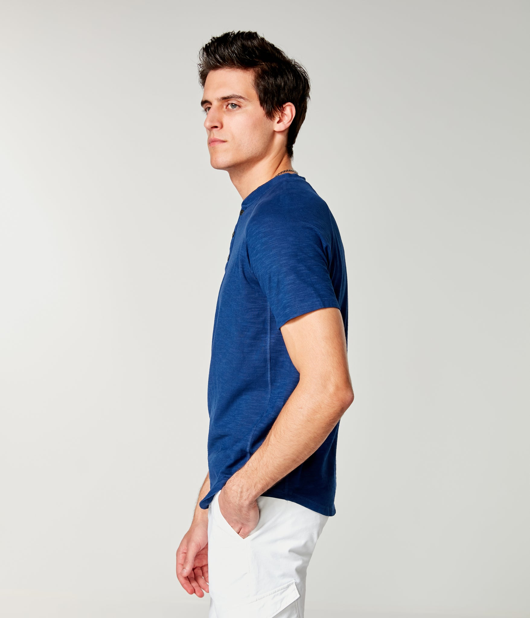 Soft Slub Jersey Legend Henley - Blue