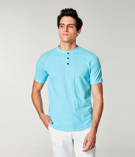 Soft Slub Jersey Legend Henley - Blue - Good Man Brand -