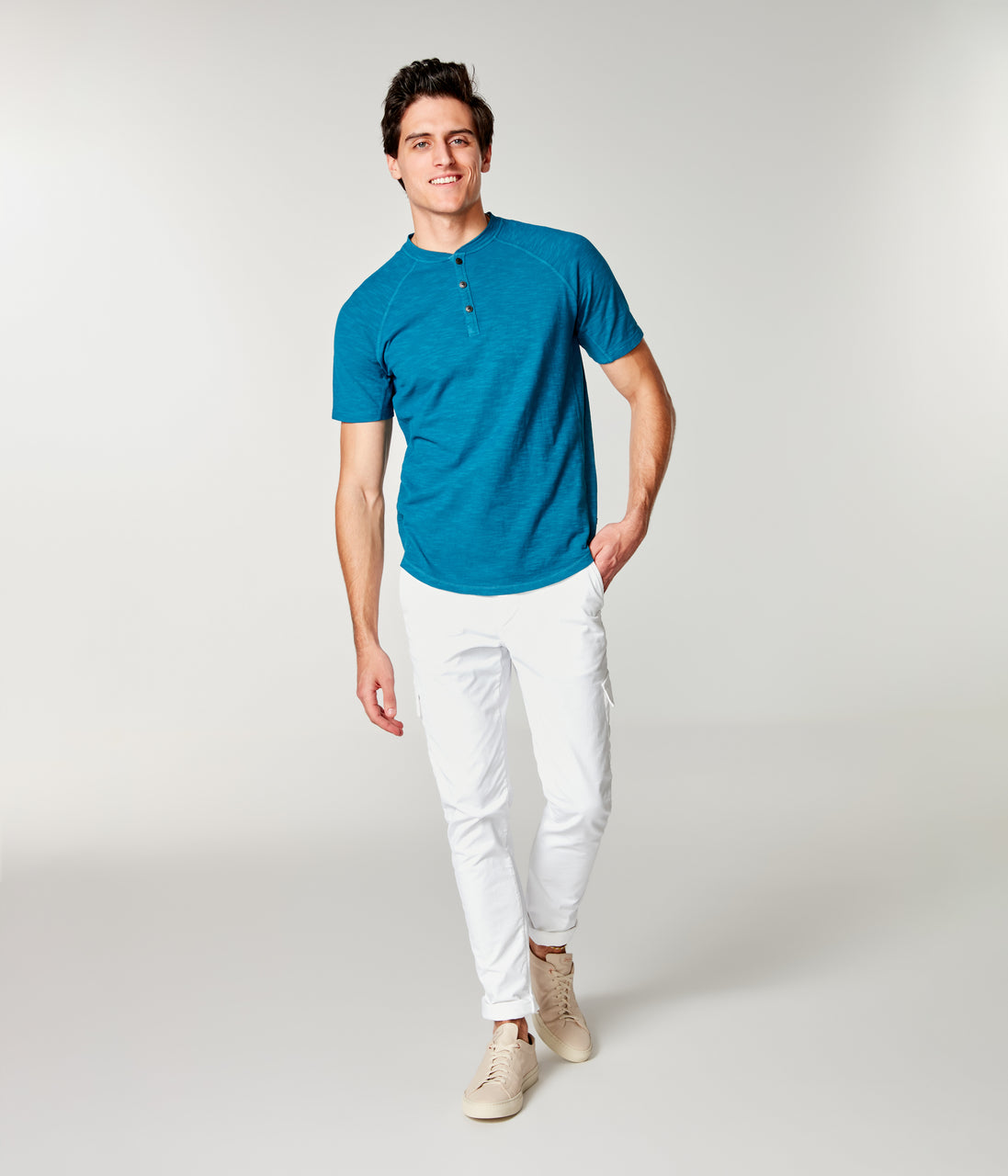 Soft Slub Jersey Legend Henley - Lyons Blue - Good Man Brand - Soft Slub Jersey Legend Henley - Lyons Blue