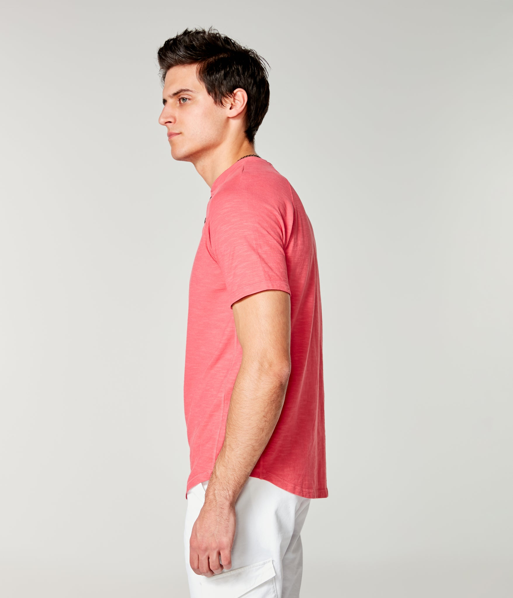 Soft Slub Jersey Legend Henley - Watermelon